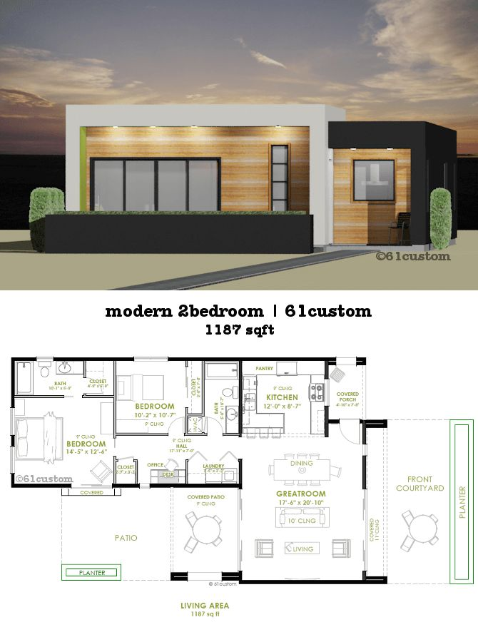 This modern house plan offers two bedrooms, two bathrooms, a spacious greatroom, front courtyard, modern front kitchen and covered patio.