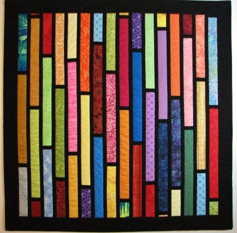 Quilted Wall Hanging Modern Quilt Fabric Stained by VillageQuilts