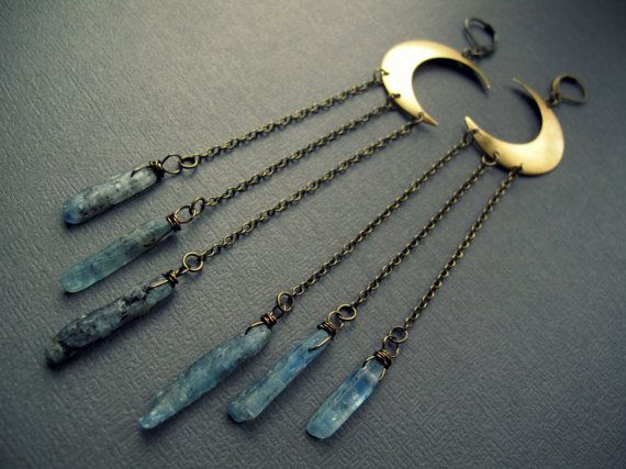 Crescent Moon Earrings with Raw Blue Kyanite Crystal Fringe:  Channel your inner moon goddess with these bold raw crystal earrings! Perfect for