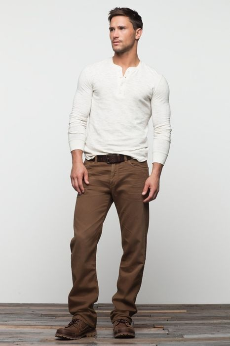 Men's Fashion: White Long-sleeved Henley, Casual Brown Pants, Belt & Brown Shoes.