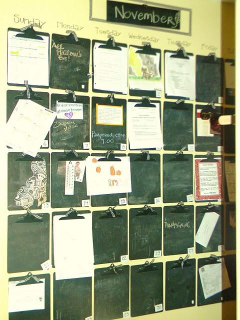 wall calendar:  chalkboard clipboards