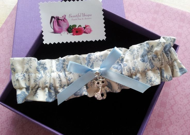 New soft cotton French rose garter with silver cat charm handmade by Beautiful Unique