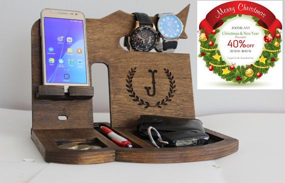 Personalized Docking Station Gift For Men, Wood docking Station Design From Wedding Puzzle Shop For Phone Stand, Gift For Him Our wooden stand can hold a phone, watch, keys, purse, coins and flash drives. so you can always find your essential, everyday items before you leave the