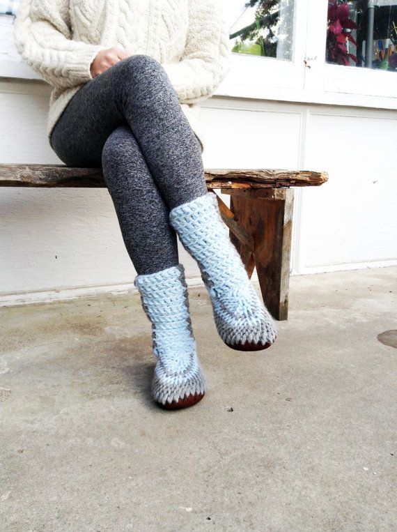 Knit Slipper Boots For Women