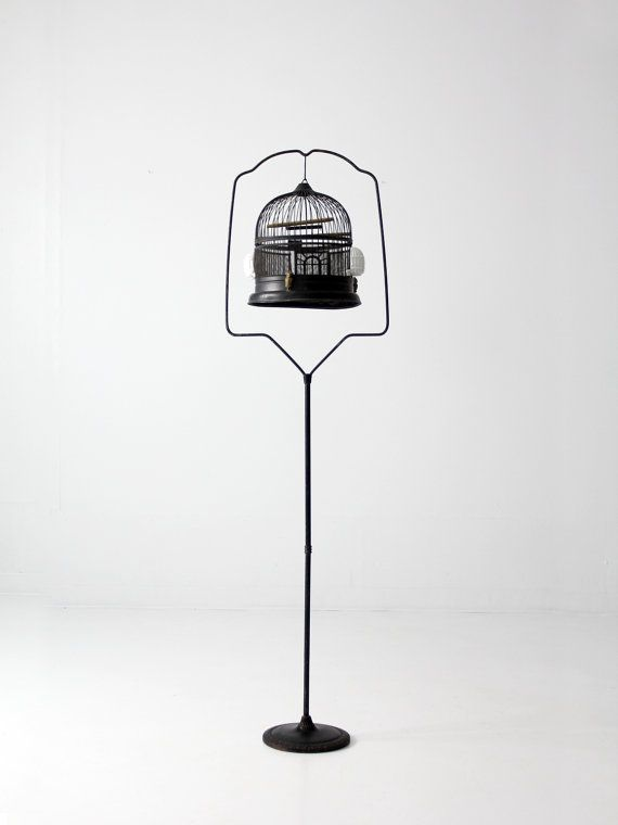 antique bird cage with stand black birdcage by 86home on Etsy