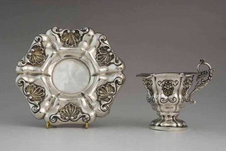 Antique silver collectors cup & saucer in Biedermeier style, Vienna