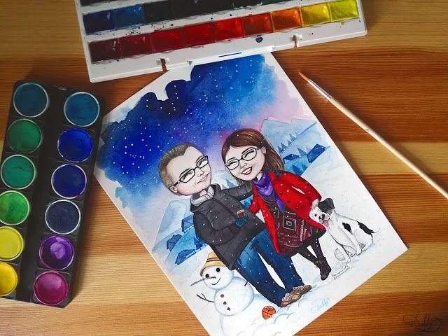 designed by #dushky / #art #illustration #painting #watercolor #portrait #winter #snow #snowman #dog #couple #love