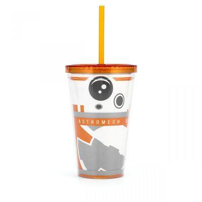 Copo com Canudo BB8 Star Wars
