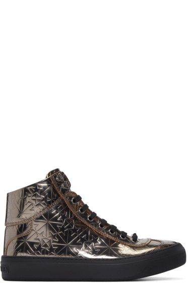Jimmy Choo - Gunmetal Star-Embossed Argyle High-Top Sneakers