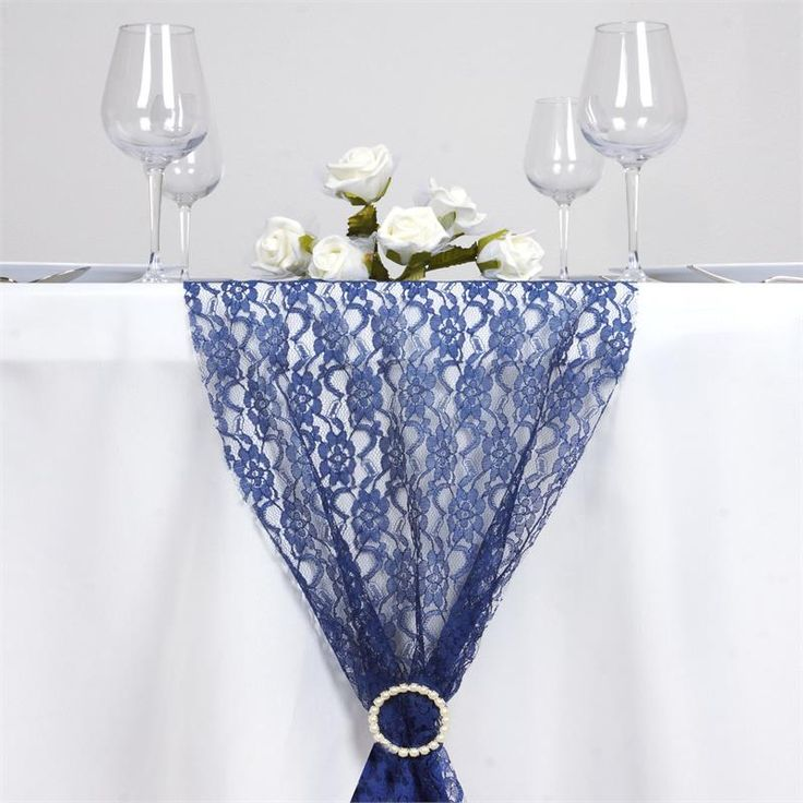 Floral Lace Table Runner   Navy Blue