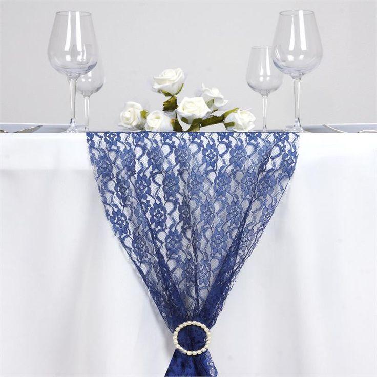 Floral Lace Table Runner - Navy Blue | eFavorMart