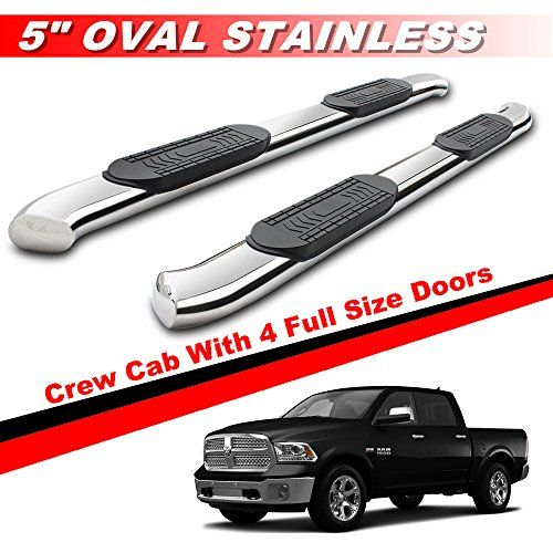 "Mifeier 5"" Curved Nerf Bars Side Steps Running Boards Fit 09-17 Dodge Ram 1500 Crew Cab With 4 Full Size Doors. For product info go to:  https://www.caraccessoriesonlinemarket.com/mifeier-5-curved-nerf-bars-side-steps-running-boards-fit-09-17-dodge-ram-1500-crew-cab-with-4-full-size-doors/"