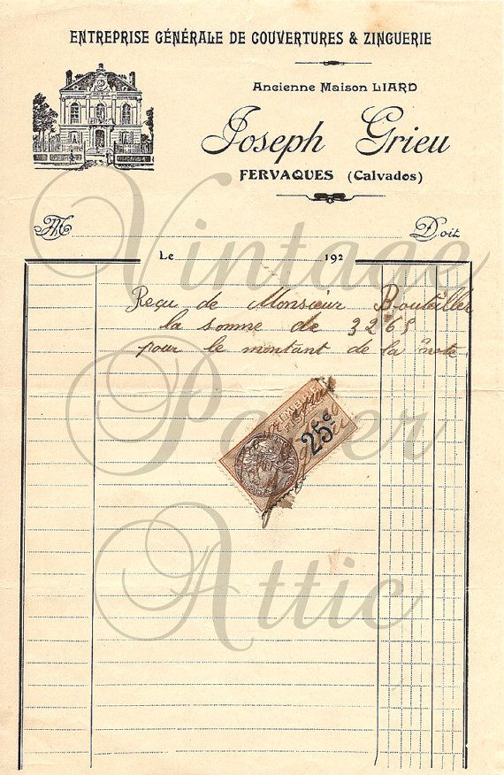 26 best Antique French Documents images on Pinterest Vintage - invoice documents