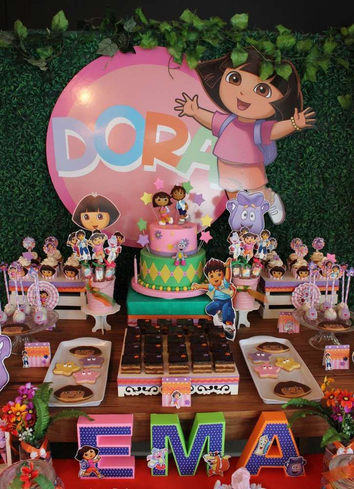How fun is this Dora & Diego birthday party! See more party ideas at CatchMyParty.com!