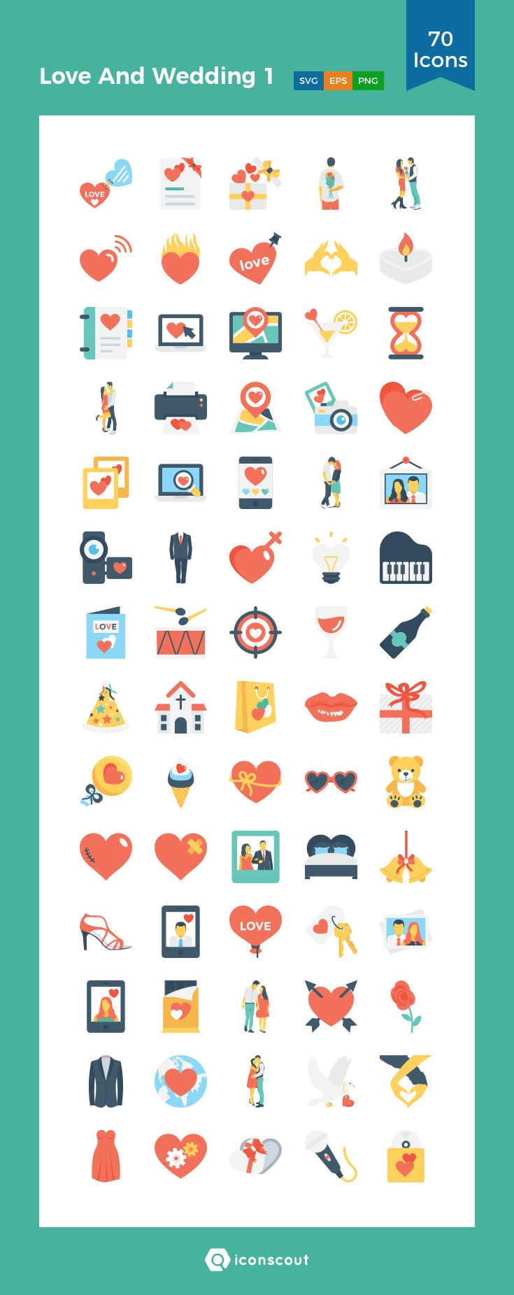 Love And Wedding 1  Icon Pack - 70 Flat Icons