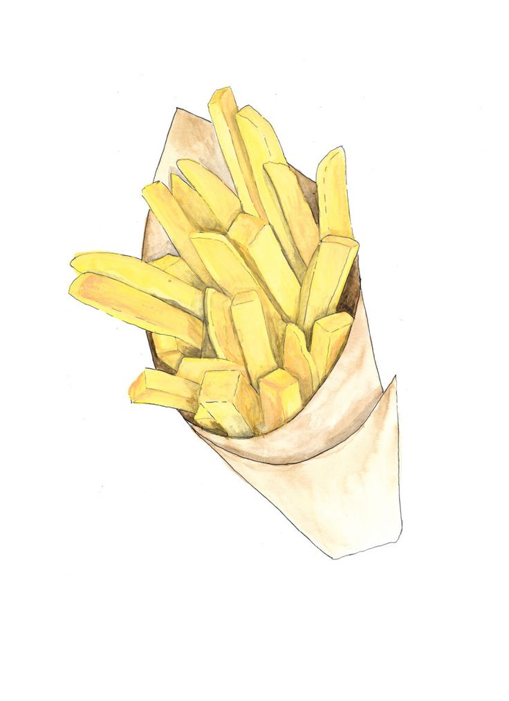 French fries paper cone hand drawn watercolor illustration by RobertaTomei on Etsy