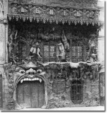 Exterior of Le Café de L'Enfer in Paris, one of the world's first theme restaurants. The cafe featured waitstaff dressed as devils and a doorman who screamed damnation at customers as they came in to be seated.
