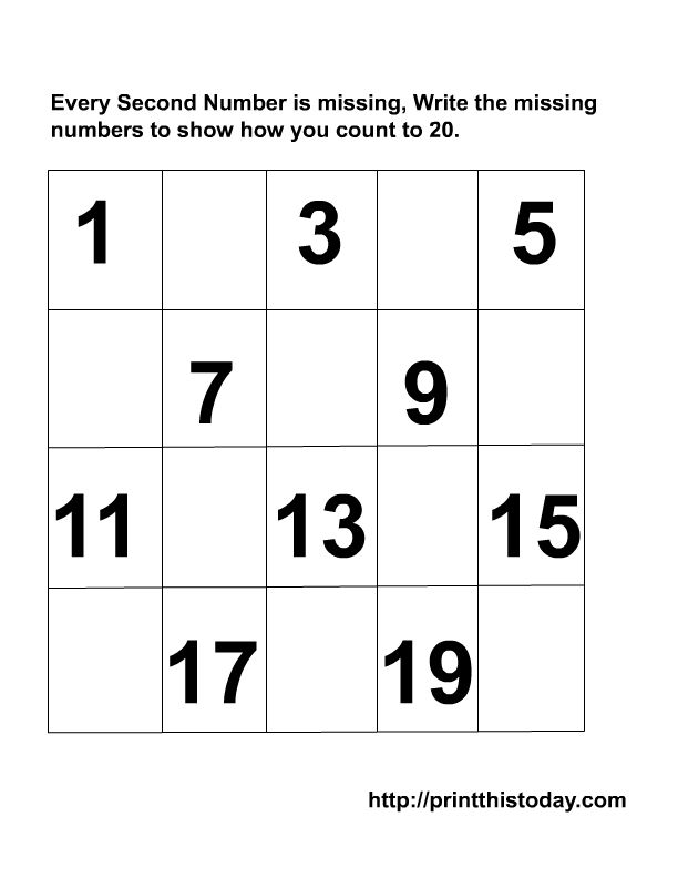 Kindergarten Missing Numbers To 20