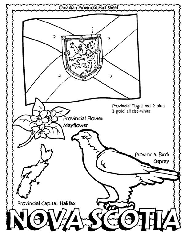 Canadian Province - Nova Scotia colouring page. Give to my students at the beginning of the year when they're trying to learn more about me!
