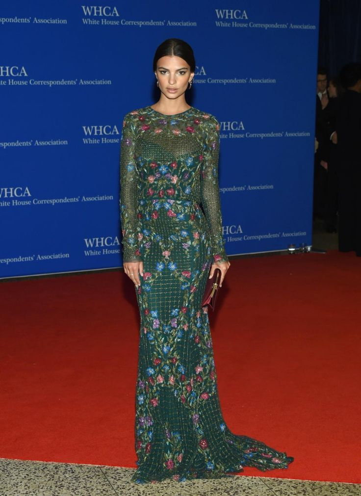 Model and actress Emily Ratajkowski looked stunning in a Monique Lhuillier dress as she arrived at the White House Correspondents' Association Dinner at the Washington Hilton Hotel.