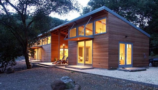 Designing Modern Exterior Using Sconce, Shade & Glass Door -  Night View,  Mountains View,  Outdoor Furniture,  Wall Sconce &  Shed Roof