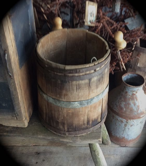 Early antique old wood farm bucket at SLH Primitives. Sweet Liberty Homestead new store!