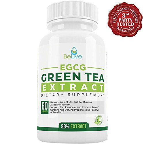 Green Tea Supplement EGCG Belly Fat Burner Weight Loss Pills for Women and Men - Anti-Aging - Boost Metabolism & Better Heart System - Pre Workout + Natural Energy - Detox Cleanse By BeLive...  BeLive's Green Tea EGCG: Epigallocatechin gallate, is a powerful antioxidant that will help support the cardiovascular and immune system. It is known to treat or prevent common cancer and disease in many research studies. The health benefits of Green Tea EGCG continues to expand