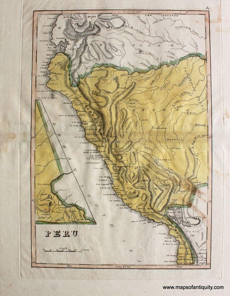 Antique-Map-Peru-1814-Carey- South America- Maps of Antiquity