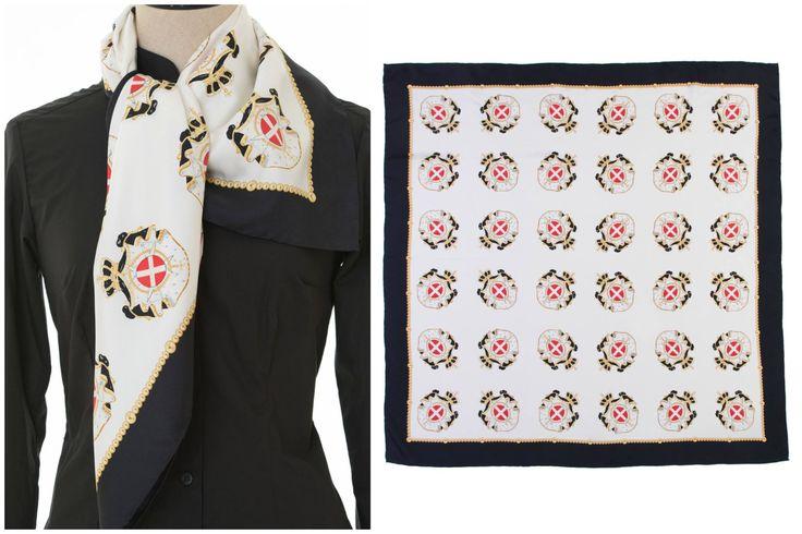 Projeto Ordem de Malta Lenço em 100% Seda 90 x 90 cm de 18 mommies com Brazão da Assembleia dos Cavaleiros Portugueses da Ordem Soberana e Militar de Malta