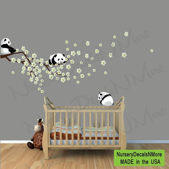 Panda Cherry Tree Wall Decals, White or Pink Cherry Blossoms, Branch, Sakura, Panda Bear Wall Decals, Pandas Stickers on Etsy, $49.99