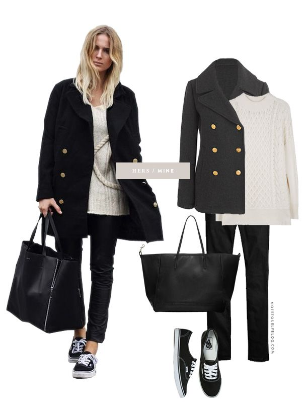 J.Crew Majesty peacoat $248 Joie Bryanne Cable Kint Sweater $178 Madewell coated skinny jeans $135 Vans Lo Pro sneakers $42 Zara Everyday s...