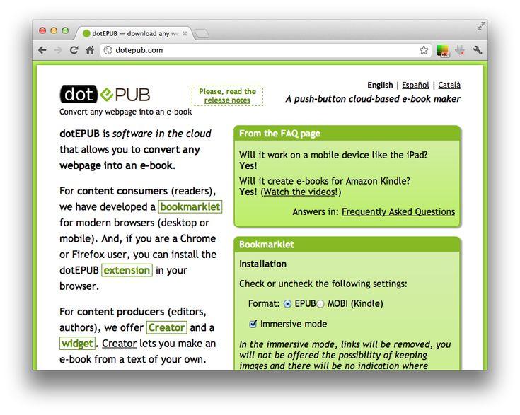 Dot ePub = convert any web page into an eBook