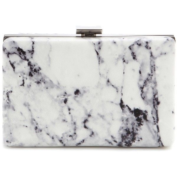 Balenciaga Printed Leather Box Clutch found on Polyvore featuring bags, handbags, clutches, purses, white, white leather purse, white purse, genuine leather purse, white handbags and white clutches