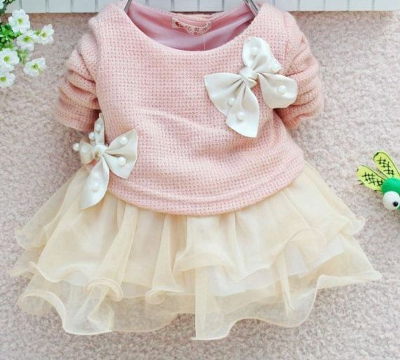 Baby Bow Lace Tutu Dress - Sweater Dress - Flower Baby Dress-Girls Easter Dress - Birthday Dress - Summer Dress on Etsy, $29.99