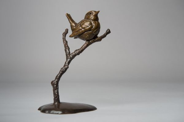 #Bronze #sculpture by #sculptor Anthony Smith titled: 'Wren (life size Small Bird Perched on twig, Bronze sculpture statuette)'. #AnthonySmith