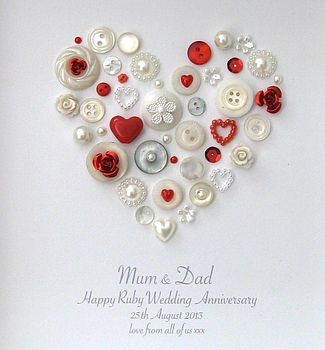 personalised ruby anniversary heart artwork by sweet dimple | notonthehighstreet.com