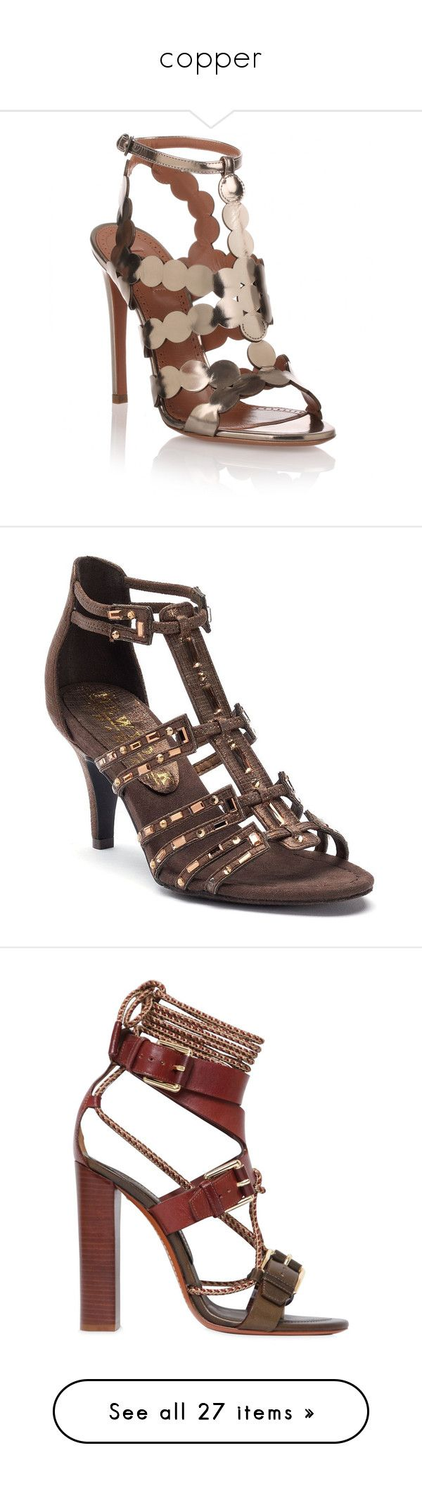 """""""copper"""" by aliceridler ❤ liked on Polyvore featuring shoes, sandals, silver, silver shoes, cutout sandals, silver sandals, high heel shoes, ankle strap high heel sandals, brown oth and brown sandals"""