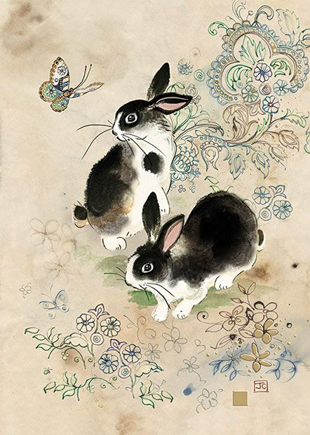 Two Rabbits by Jane Crowther. Design for Bug Art greeting cards.