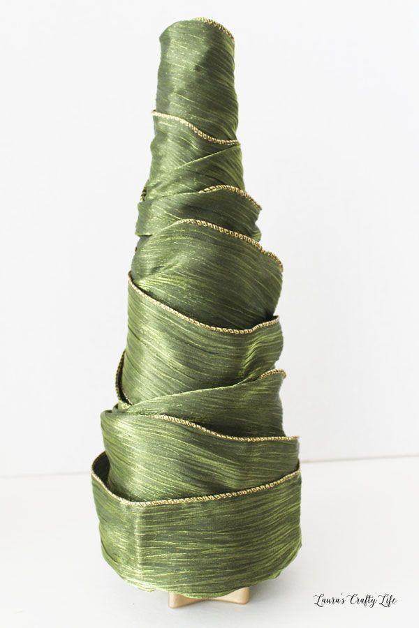 Ribbon wrapped styrofoam tree