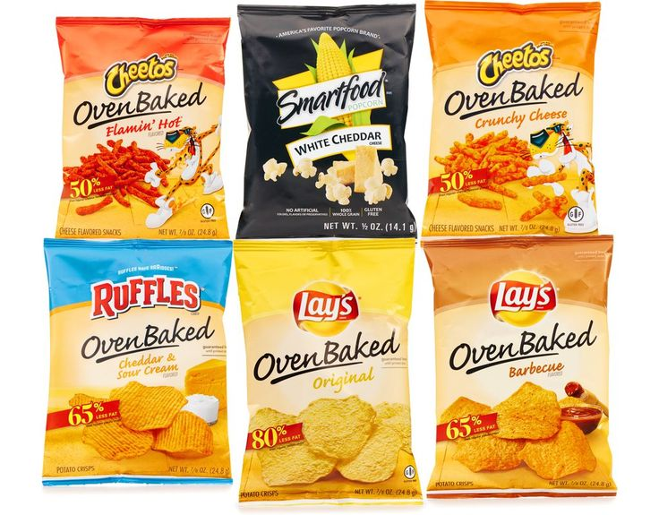 Frito-Lay's line of Oven Baked snacks are baked, not fried, to give you the great taste you've come to love with Frito-Lay snacks. On top of that, Oven Baked snacks offer less fat than regular potato chips* and cheese-flavored snacks. Also includes America's favorite popcorn brand, the fresh-tasting, light-textured Smartfood White Cheddar keeps the fun popping. Being smart is always in great taste.•7 x 0.875 oz Baked Cheetos Crunchy•8 x 0.875 oz Baked Cheetos Flamin' Hot•8 x 0.875 oz Bake...