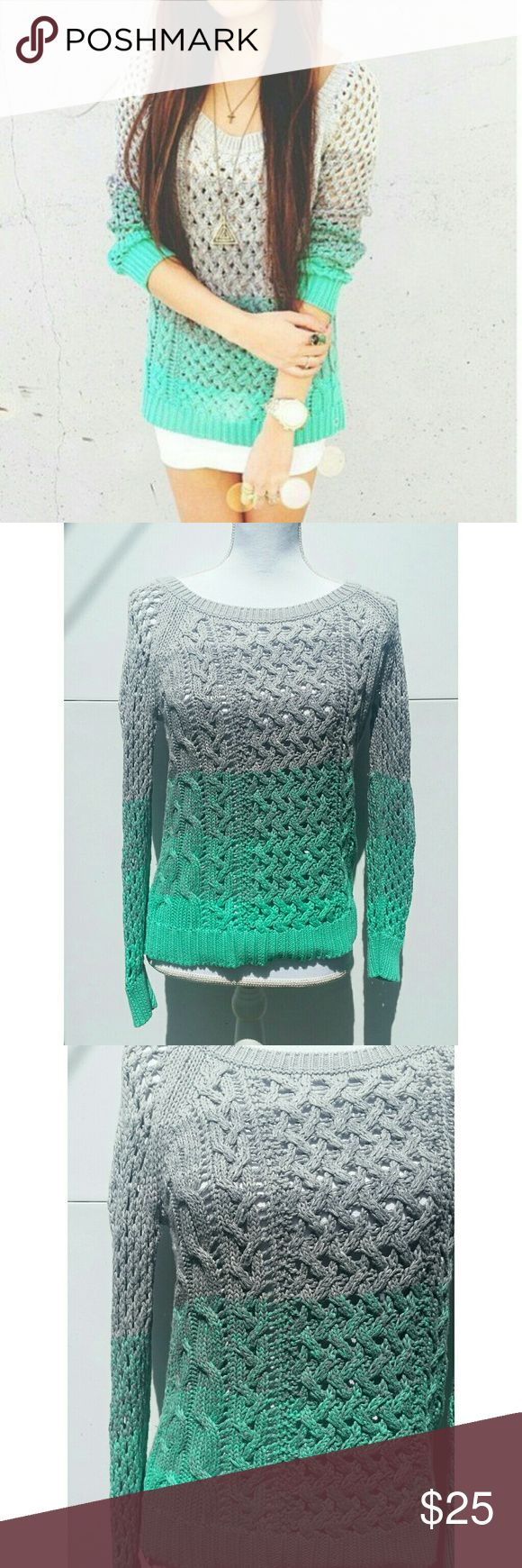American Eagle Gray Mint Ombre Loose Knit Sweater American Eagle Outfitters Gray Mint Ombre Loose Knit Sweater. Like NEW. Size small. American Eagle Outfitters Tops Sweatshirts & Hoodies