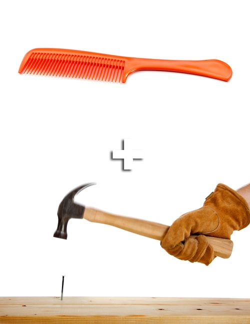 Save your fingers by using a comb to hold nails in place while hammering. DIY