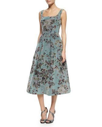 Floral+Sleeveless+Tea-Length+Cocktail+Dress,+Multi+by+Kay+Unger+New+York+at+Neiman+Marcus.
