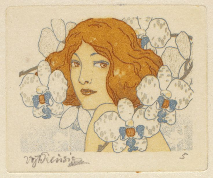 """Etchings from the """"Seven Orchids"""" series by Czech artist Vojtěch Preissig, 1913."""