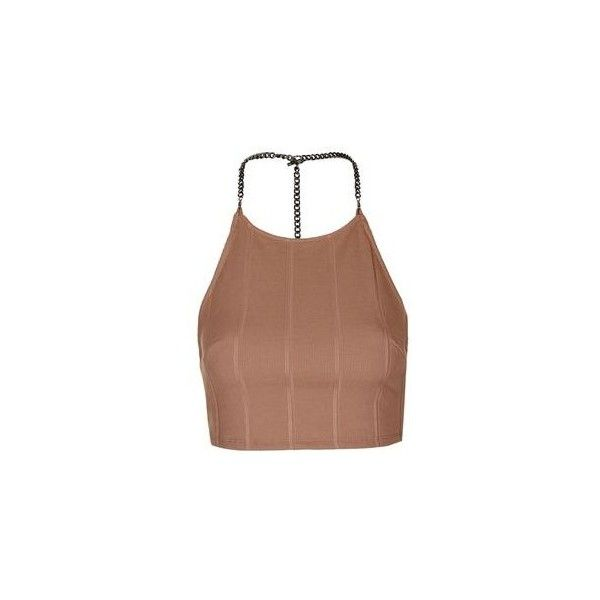 TopShop Chain Bandage Crop Top ($35) ❤ liked on Polyvore featuring tops, nude, embellished tops, topshop tops, beige top, topshop and strap crop top
