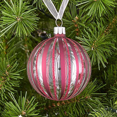 Buy John Lewis Mitsuko Glitter Stripe Bauble, Ruby Online at johnlewis.com