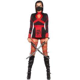 Een zwart dragon Ninja romper met rode accenten. Sexy en dodelijk, dit 3-delig ninja kostuum bestaande uit een korte catsuit met speelse decolleté accent en aangehechte wikkelbanden op de armen en benen, een heuptasje met drakenprint en een bijpassend ninja masker. De afgebeelde zwaarden zijn niet inbegrepen. Deze Ninja romper is een hoogwaardige productie van Leg Avenue.