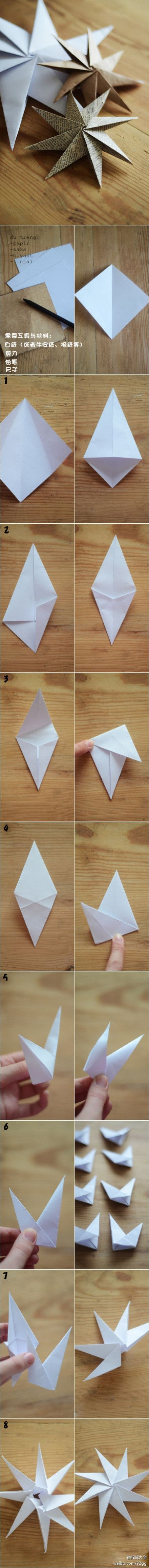 Grande estrela de papel octogonal