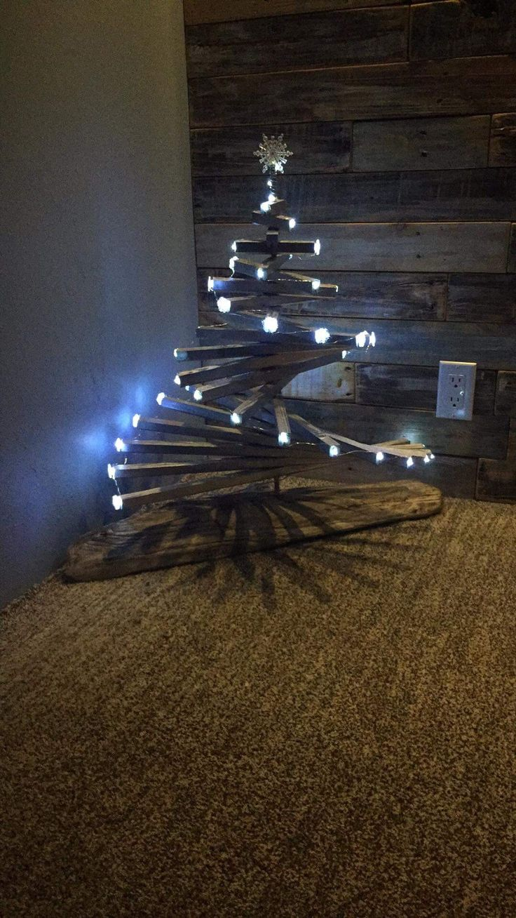 Wood Christmas tree made from scrap wood