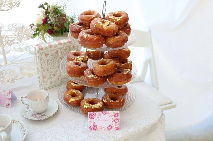 Gold foil donuts, baby shower, tea party
